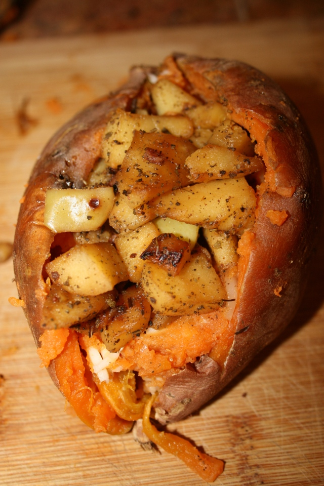 Apple & Bacon Stuffed Sweet Potatoes